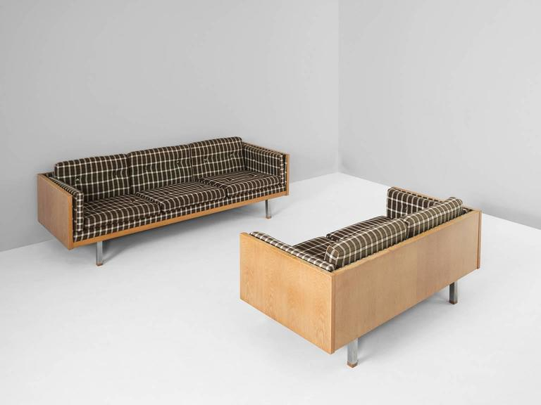 Scandinavian Two Seat Sofa In Oak And Checkered Upholstery For Sale 1