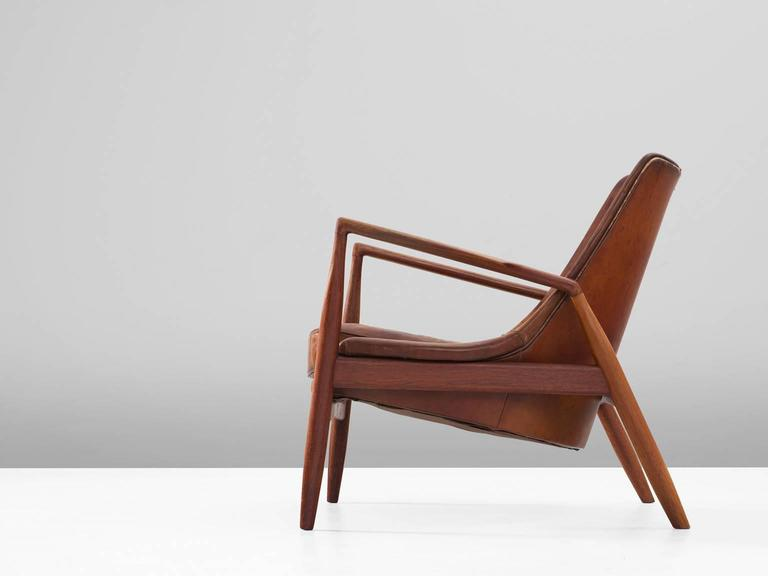 Charming Scandinavian Modern Ib Kofod Larsen U0027Sealu0027 Lounge Chair In Patinated Cognac  Leather For