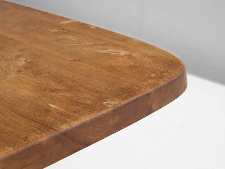 Mid-20th Century Pierre Chapo T35B Small Dining Table With Unique Natural Aged Patina
