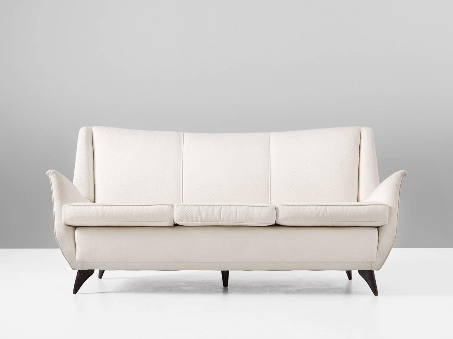 Italian three seat sofa in off white fabric for sale at for Fabric sofas for sale