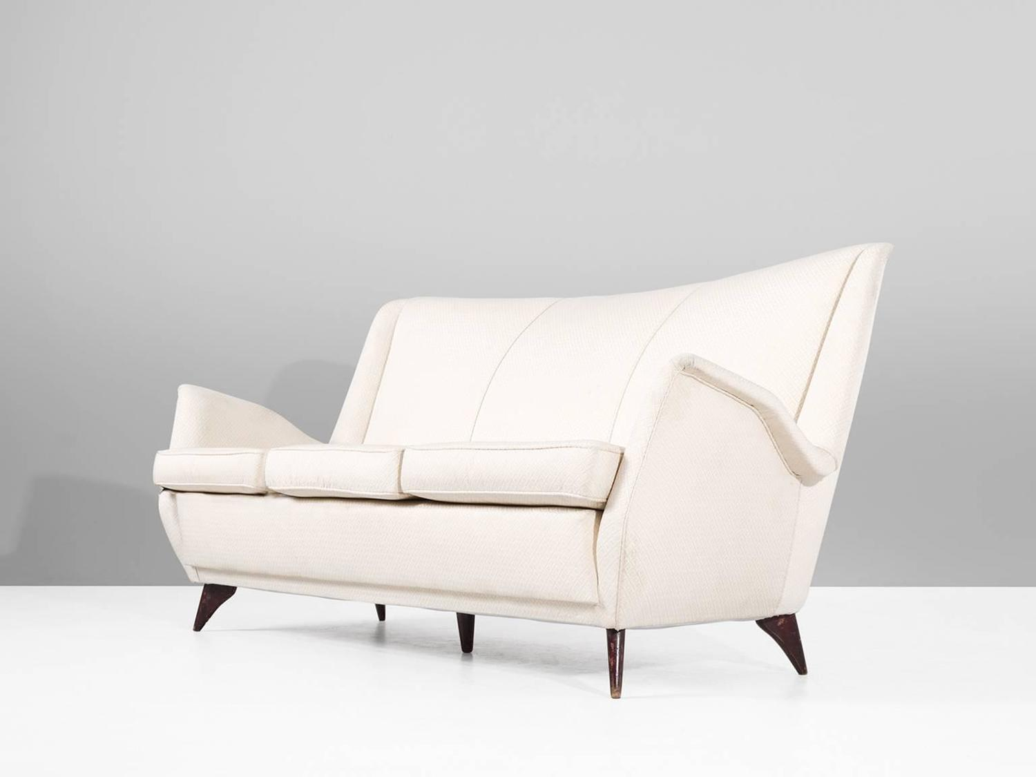 italian three seat sofa in off white fabric for sale at 1stdibs. Black Bedroom Furniture Sets. Home Design Ideas