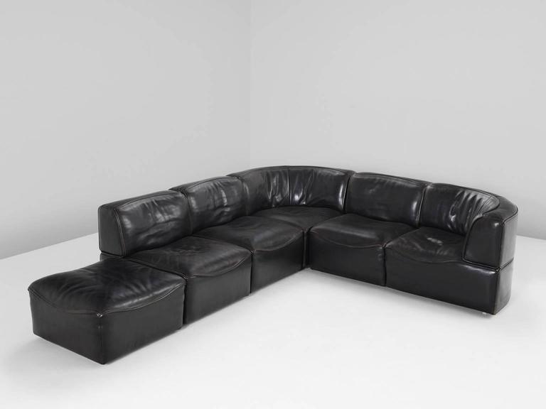 De Sede U0027DS 15u0027 Modular Sofa In Black Buffalo Leather 3