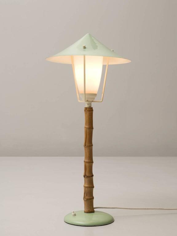J T Kalmar Karla Bamboo Green Table Lamp 1950s For