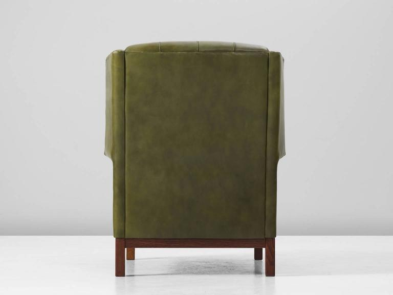 Arne Norell High Back Chair In Patinated Green Buffalo