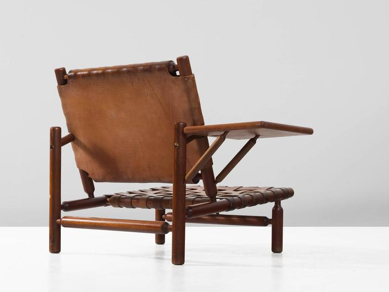 Mid-Century Modern Ilmari Tapiovaara Rare Leather Strap Lounge Chair and Ottoman For Sale