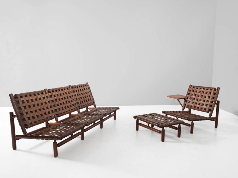 Ilmari Tapiovaara Rare Leather Strap Lounge Chair and Ottoman For Sale 1