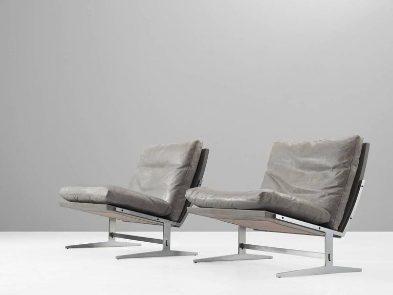 Pair Of Lounge Chairs Model BO561, In Brushed Steel And Leather, By Preben  Fabricius