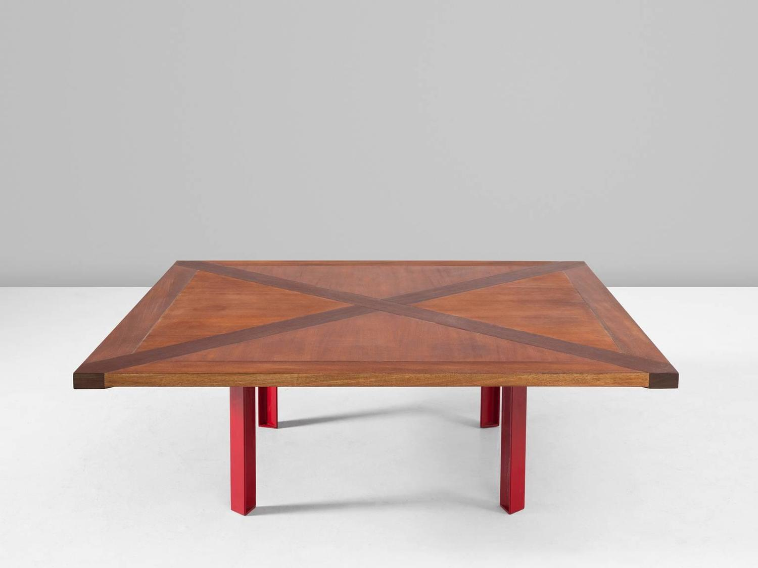 Large Danish Coffee Table In Mahogany And Red Lacquered Metal For Sale At 1stdibs