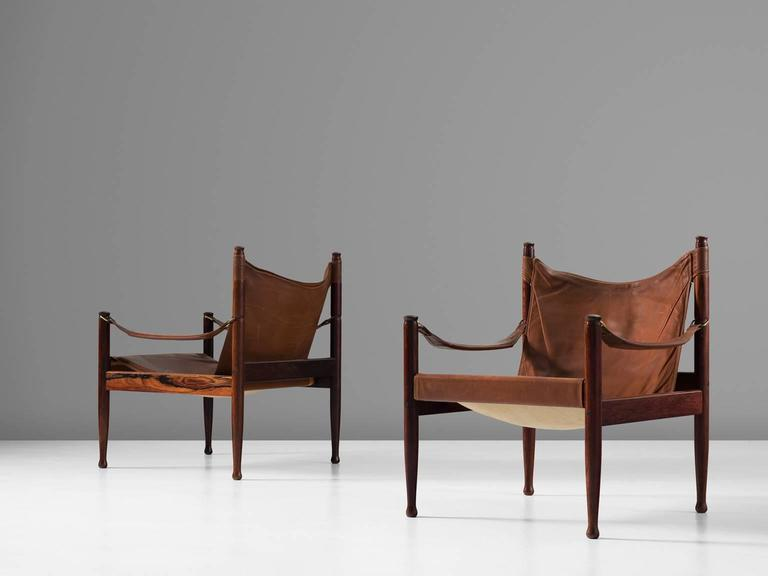 Erik Wørts Set of Two Safari Lounge Chairs in Rosewood and Brown Leather 2