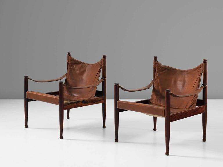 Erik Wørts Set of Two Safari Lounge Chairs in Rosewood and Brown Leather 3