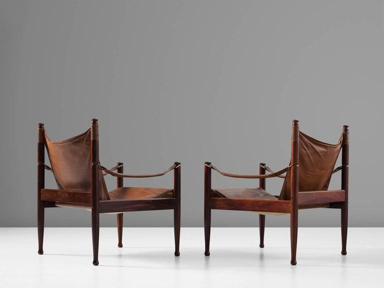 Erik Wørts Set of Two Safari Lounge Chairs in Rosewood and Brown Leather 4