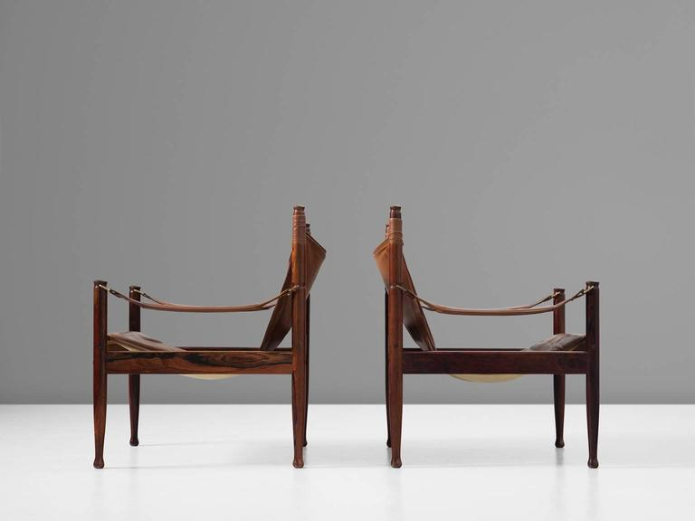 Erik Wørts Set of Two Safari Lounge Chairs in Rosewood and Brown Leather 5