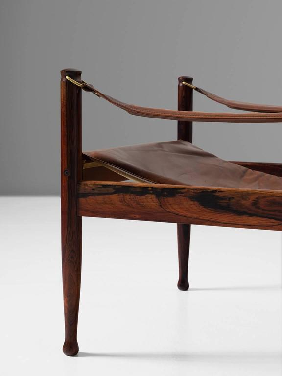 Erik Wørts Set of Two Safari Lounge Chairs in Rosewood and Brown Leather 6
