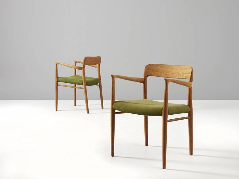 Danish Niels O. Moller Set of four Dining Chairs in Oak and Green Fabric Upholstery For Sale