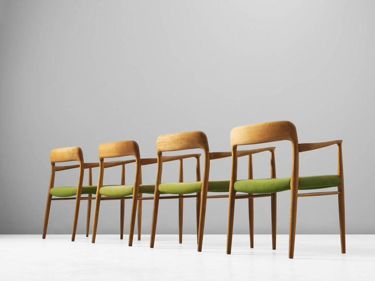 Strange Niels O Moller Set Of Four Dining Chairs In Oak And Green Fabric Upholstery Ibusinesslaw Wood Chair Design Ideas Ibusinesslaworg