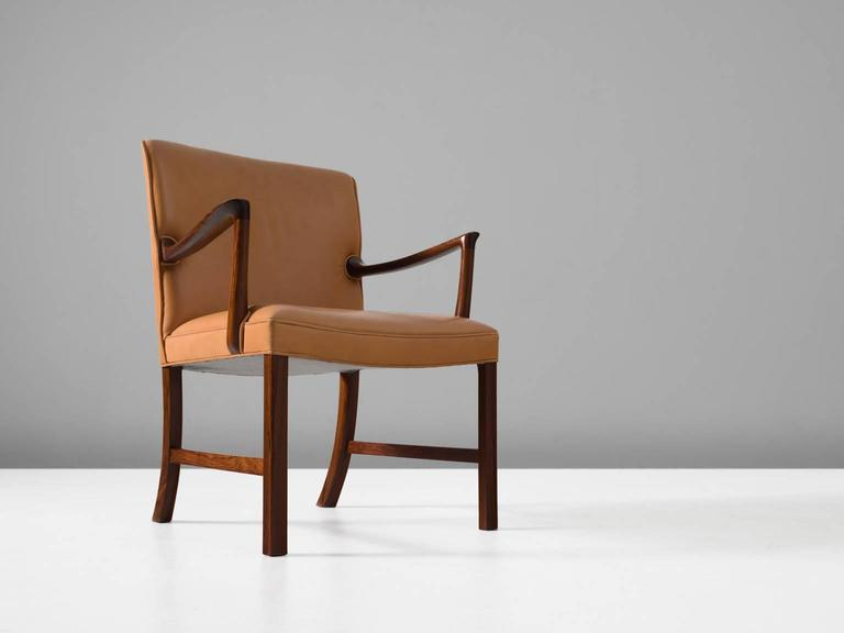 Danish Ole Wanscher Large Armchair with Natural Leather Upholstery For Sale