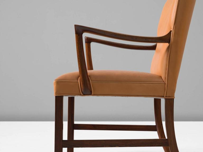 Mid-20th Century Ole Wanscher Large Armchair with Natural Leather Upholstery For Sale