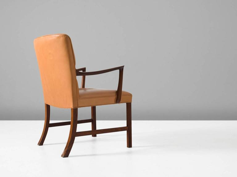 Scandinavian Modern Ole Wanscher Large Armchair with Natural Leather Upholstery For Sale