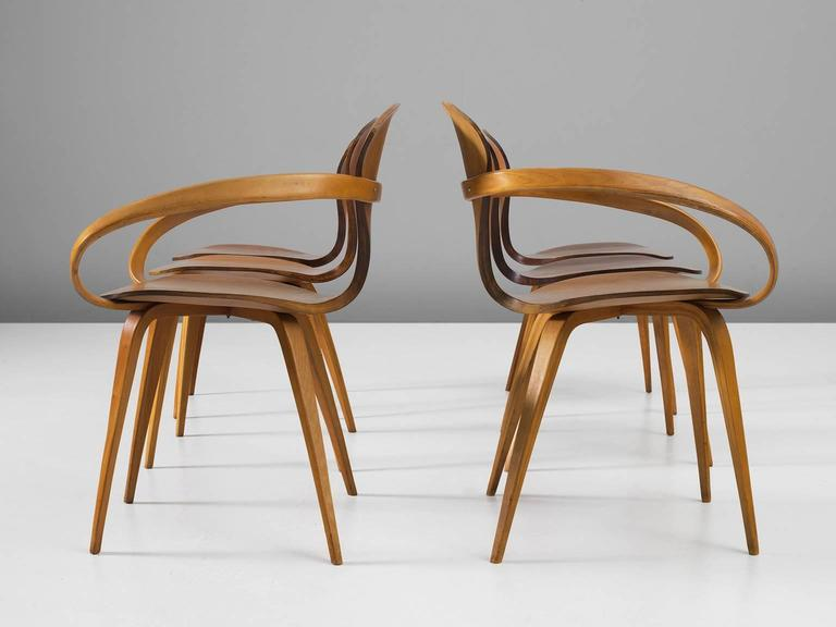 Mid-Century Modern Norman Cherner Set of Six Dining Chairs in Walnut