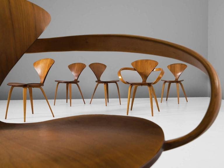 American Norman Cherner Set of Six Dining Chairs in Walnut