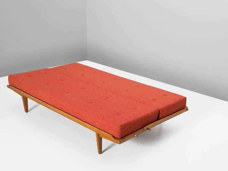 Scandinavian sofa bed in oak and multicolored orange for Scandinavian sofa bed