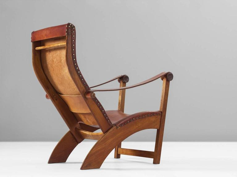Mogens Voltelen Copenhagen Chair in Mahogany and Original Cognac Leather 4