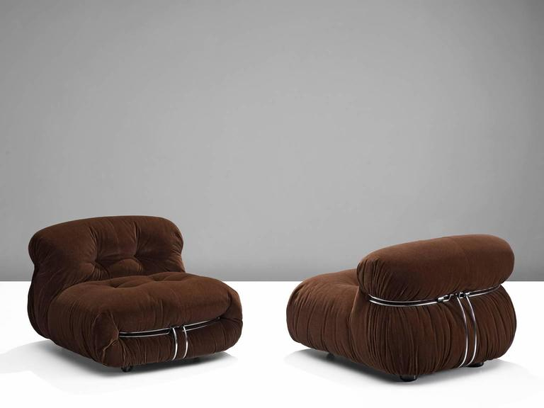 'Soriana' lounge chairs, in fabric and metal, by Afra & Tobia Scarpa for Cassina, Italy, 1969.  Iconic lounge chairs by Italian designer couple Afra & Tobia Scarpa, the Soriana proposes a model that institutionalizes the image of the