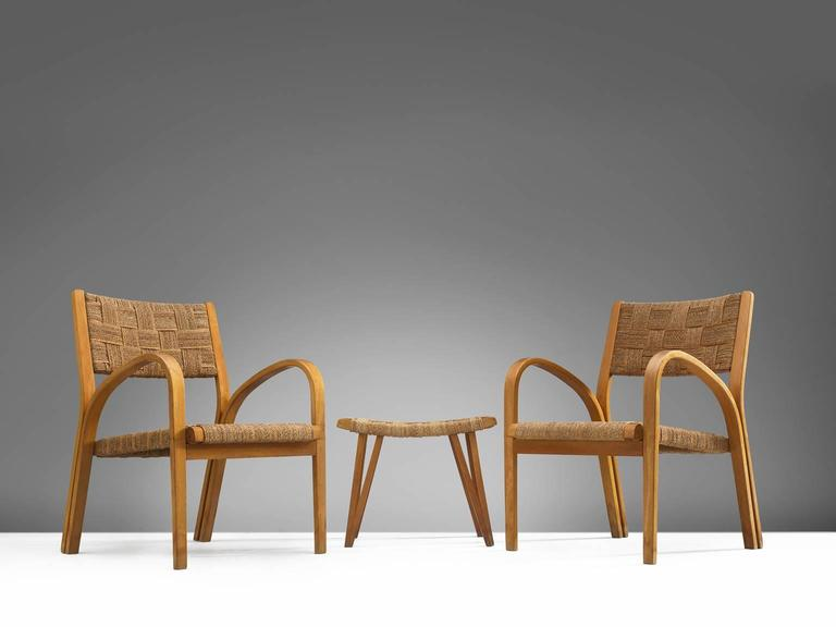 Attributed Giuseppe Pagano Rope Lounge Chairs with Ottomans 4