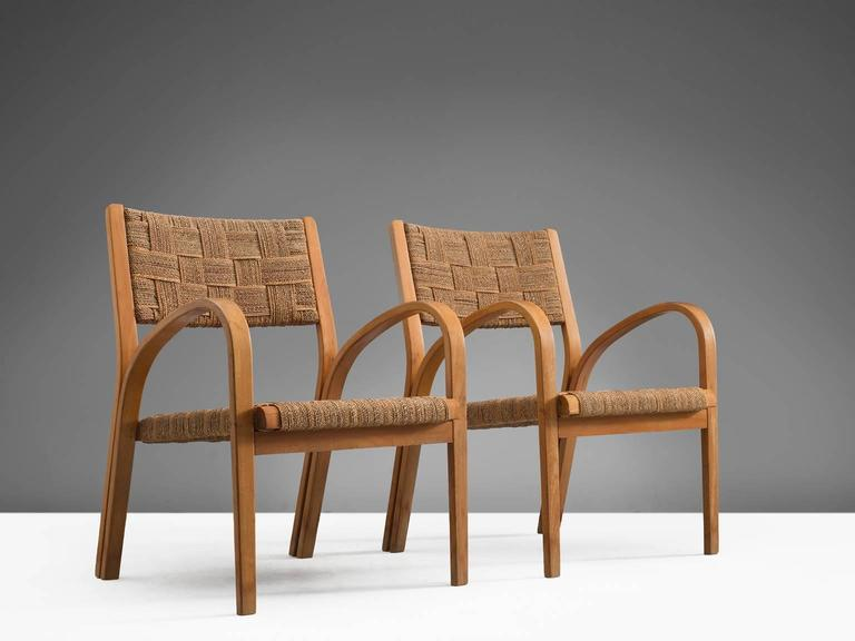 Attributed Giuseppe Pagano Rope Lounge Chairs with Ottomans 2
