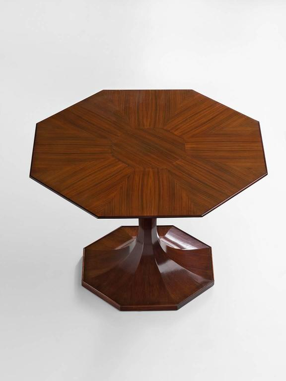 Table, Walnut, By Luigi Massoni, Italy, 1950s. Octagonal Pedestal Dining  Table