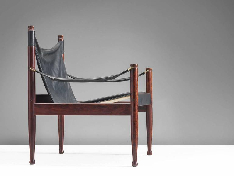 Danish Erik Wørts Safari Lounge Chairs in Rosewood and Leather For Sale