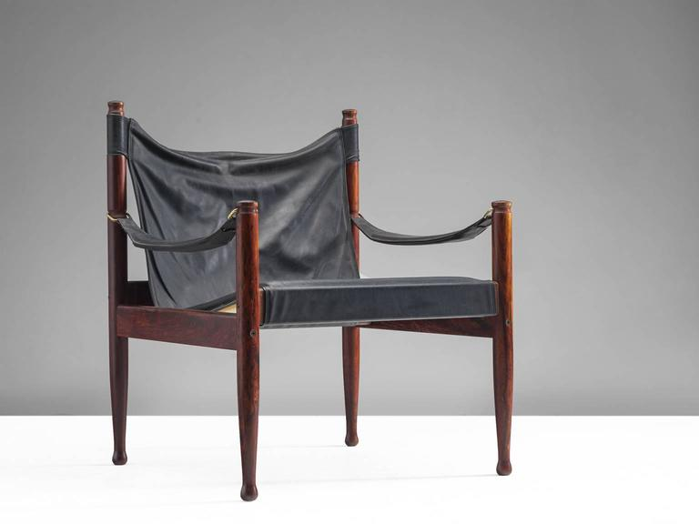 Scandinavian Modern Erik Wørts Safari Lounge Chairs in Rosewood and Leather For Sale