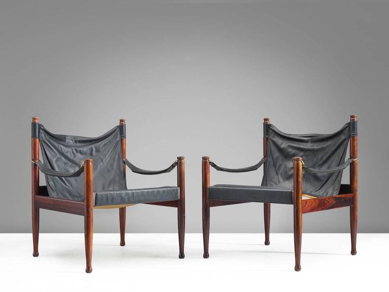Erik Wørts Safari Lounge Chairs in Rosewood and Leather For Sale 1