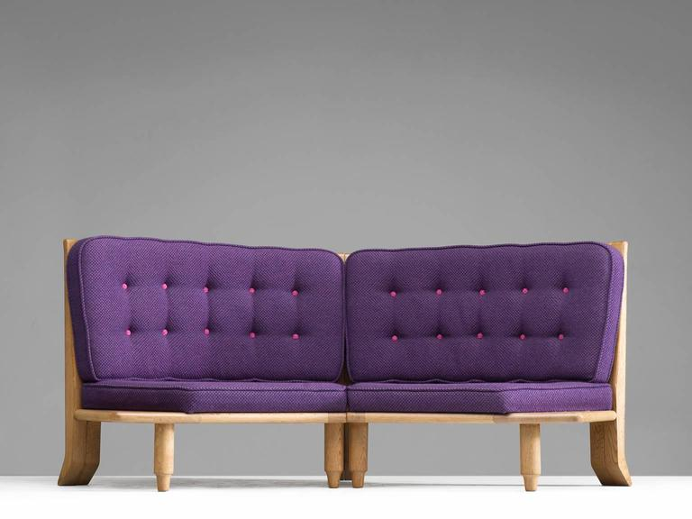 Mid-Century Modern Guillerme & Chambron Oak Settee For Sale