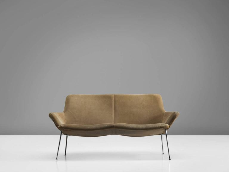 Sofa In Metal And Suede By Poul Nørreklit Denmark 1960s This Settee Is Upholstered