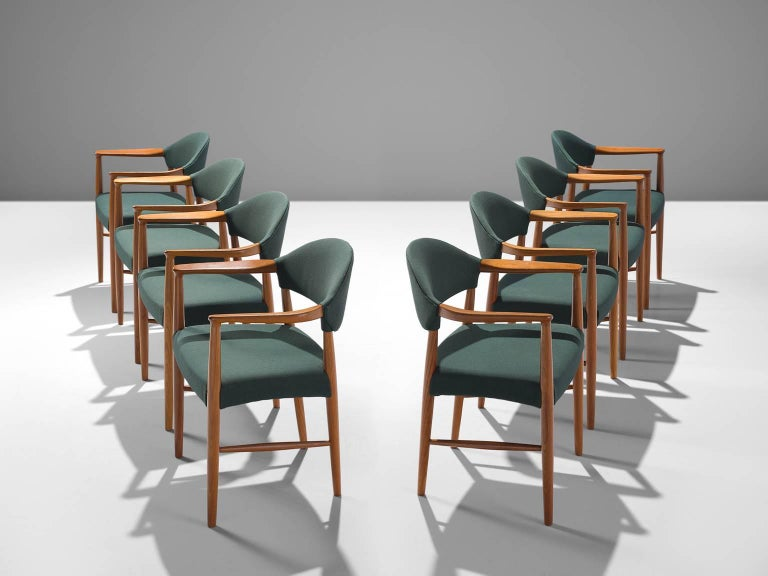 Set Of Eight Danish Hunter Green Dining Room Armchairs For