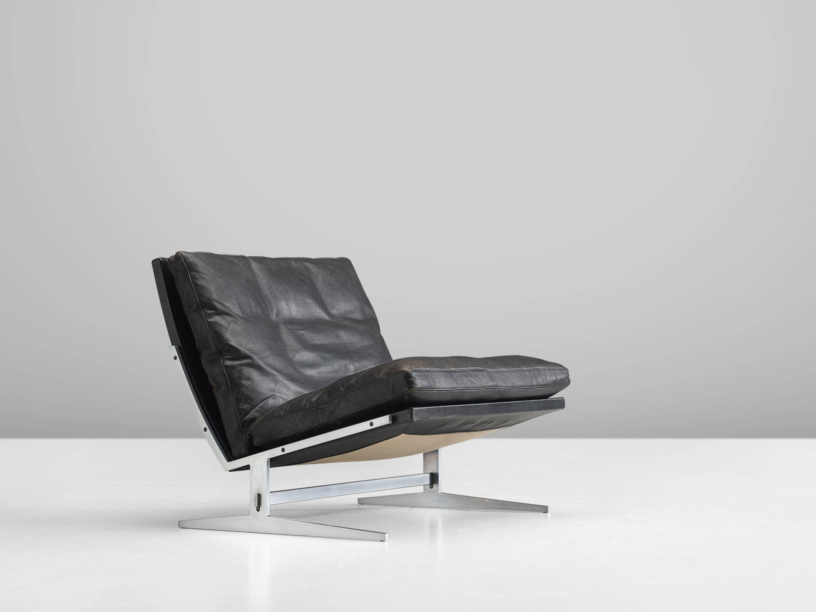 Lounge Chair Model BO561, In Brushed Steel And Leather, By Preben Fabricius  U0026 Jørgen