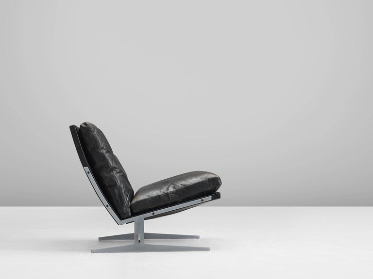 Scandinavian Modern Fabricius And Kastholm Black Leather Slipper Chair For