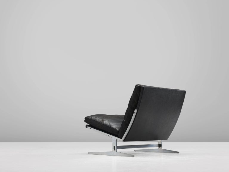 Danish Fabricius And Kastholm Black Leather Slipper Chair For