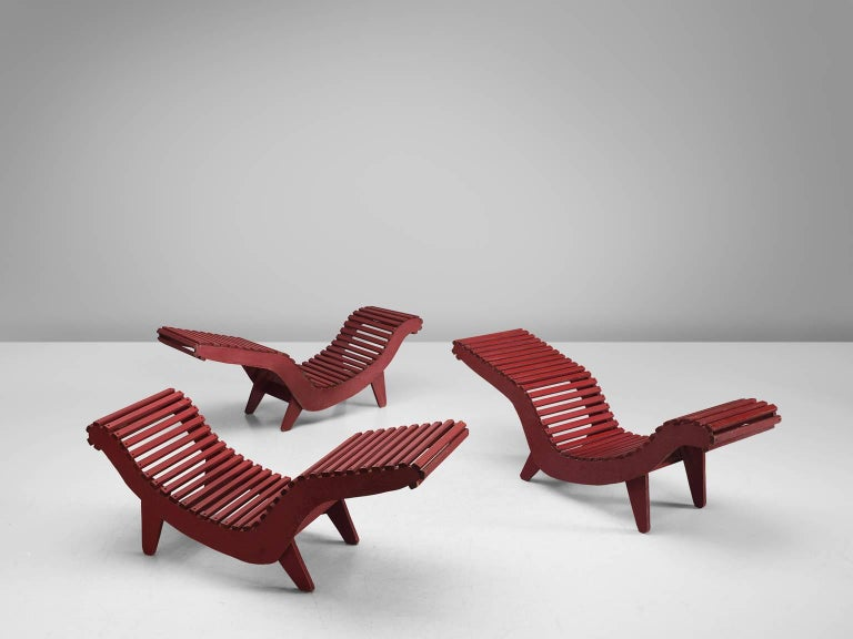 three deep red klaus grabe chaise longues for sale at 1stdibs. Black Bedroom Furniture Sets. Home Design Ideas