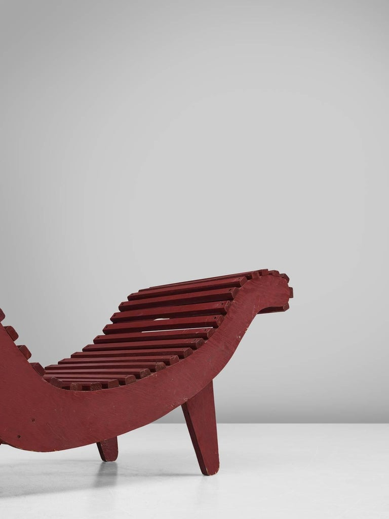 Klaus grabe deep red chaise longue for sale at 1stdibs for Chaise longue sale