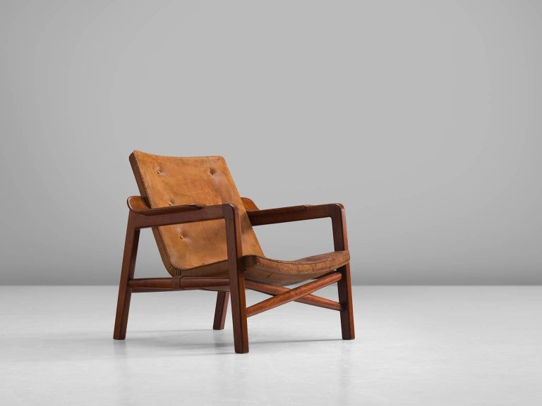 Fireplace Chair In Teak And Leather By Tove Edvard Kindt