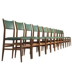 Gio Ponti for Cassina Green Leather 'Leggera' Chairs