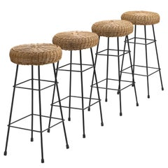 Dutch Bar Stools with Black Frame, 1960s