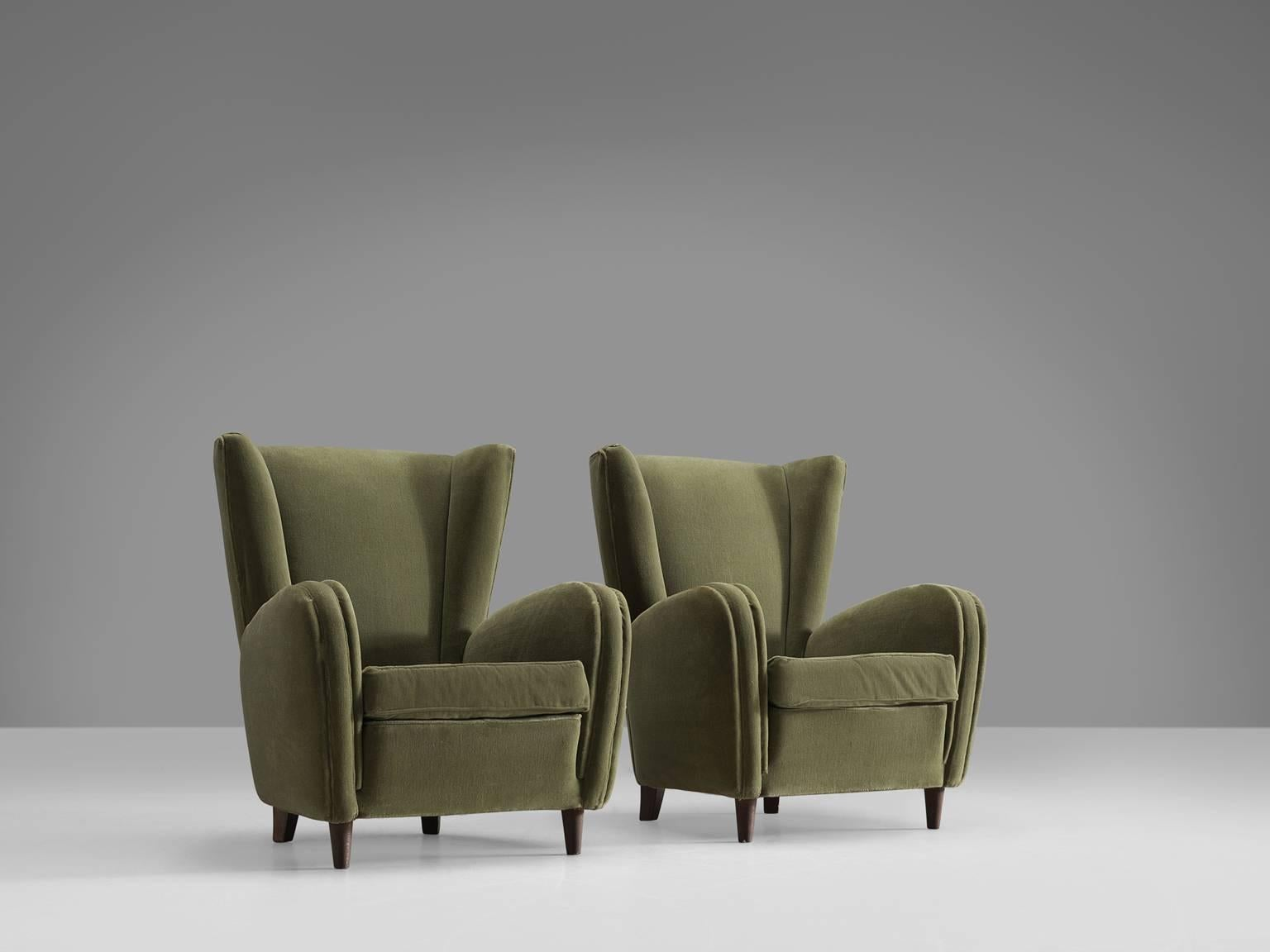 Set Of Armchairs, Olive Green Fabric, Wood, Italy, 1950s. This Set