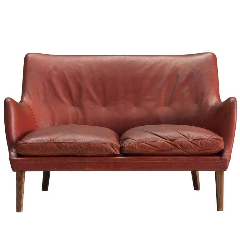 Arne Vodder Red Leather Settee by Ivan Schlechter, 1953