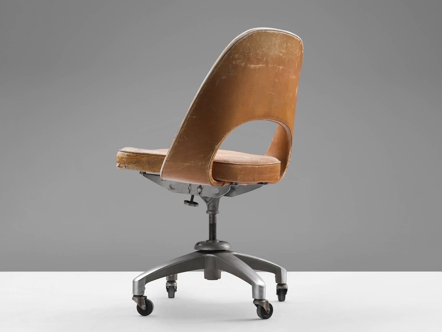 Eero Saarinen, Desk Chair, Steel And Leather, United States, 1950s. This