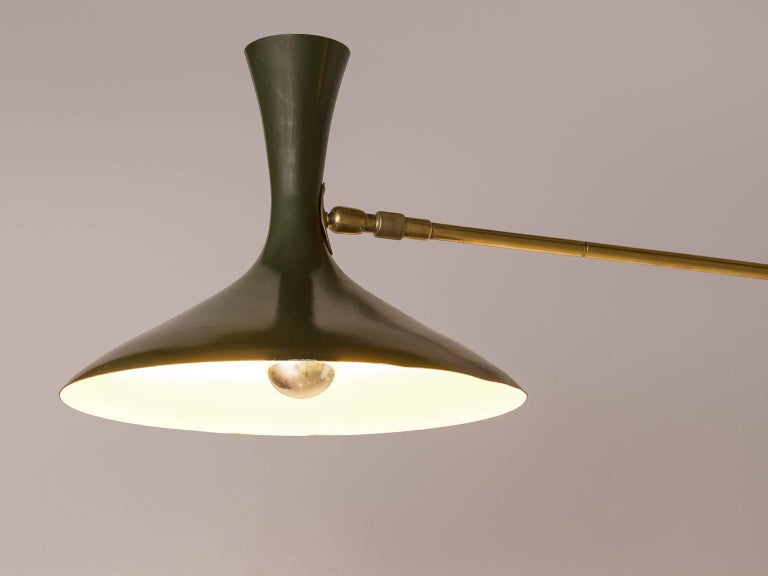 Green Metal Wall Lights : Louis Kalff for Cosack Wall Light in Brass and Rare Dark Green Metal For Sale at 1stdibs