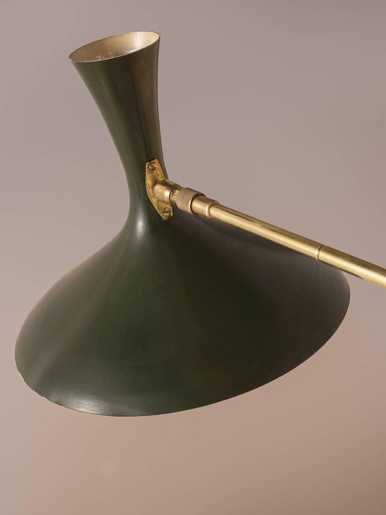 Louis Kalff for Cosack Wall Light in Brass and Rare Dark Green Metal For Sale at 1stdibs