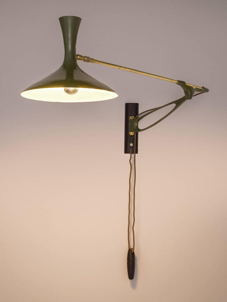Louis Kalff For Cosack Wall Light In Brass And Rare Dark